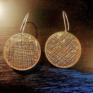 Stunning Niki Ulehla 24k Gold Mesh Earrings EUC